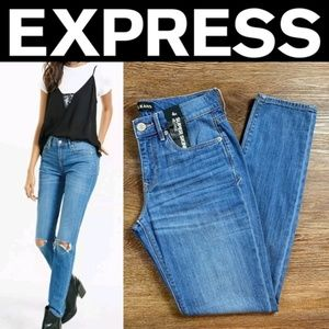 Express Mid Rise Distressed Super Skinny Jean